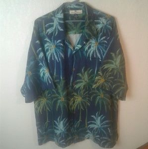 Tommy Bahama Hawaiian Palm Tree 100% Silk Shirt